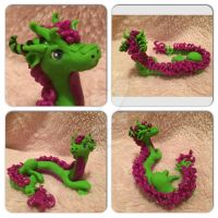 Purple and green oriental dragon by skippy123456