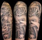 japanese dragon half sleeve by bjsxiii