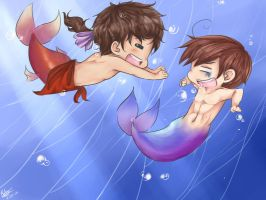 Lilou's Chibi Mermen by BlackDiamond13