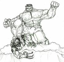 HULK vs. WOLVERINE by lijohn321