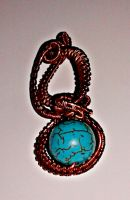 copper and turquoise pendant by slinkyskinked