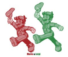 dan redraws Mario and Luigi by dan-heron