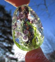 Flooded Gardens glass egg by fairyfrog