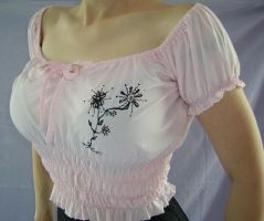PINK SMOGGED FLORAL DESIGN TOP by FRANTASEE