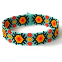 Colorful Beaded Bracelet -Turquoise Peyote Bracele by anabel27