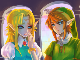 Zelda -- Zelda and Link by onisuu