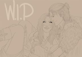 DA2 - Cuddle Commission WIP by SweetCandyRain