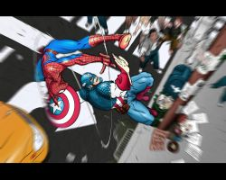 SpiderMan vs. Captain America2 by misfiger