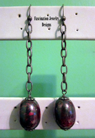 Red - Grey Chain Earrings by BloodRed-Orchid