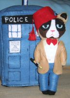 Grumpy Cat Doctor Who with Fez and Sonic Srewdiver by lincornell