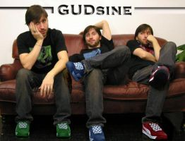 3 of me on couch in R G B by GUDsine