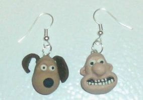 Wallace and Gromit Earrings by estranged-illusions