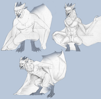 [Sketch] New Character Bat-Humanoid by Hochmut