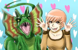 GIRLS+DINOS - DILOPHOSAURUS by kentaropjj
