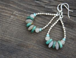 Turquoise Loop Silver Earrings by TwinflowerDesign