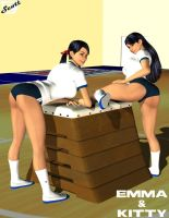 Japanese Gym Uniform Emma and Kitty by ImfamousE