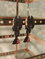 Toothless Earrings - 5 in stock by Chained-Dragon
