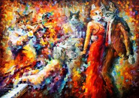 CAT CLUB by Leonid Afremov by Leonidafremov