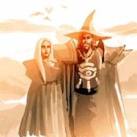 High Sorcerer Magnus with Prophetess Meelya by Rosalind-WT