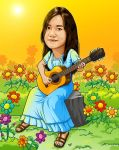 girl playing guitar in the garden by IborArt