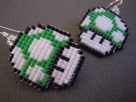 1up Mushroom Pixel Earrings by Pixelosis