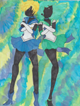 Sailor Neptune And Uranus Watercolor by Miku-Marmalade