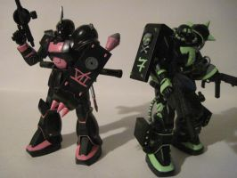 Custom Zaku II and Zaku I by clicker-3000