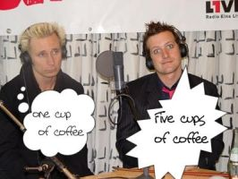 Cups of Coffee Mike and Tre by LilMissGreenDay