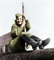 Russian female soldier (coloured picture) by UniformFan