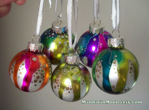 Hand Painted Christmas Ornaments by MandarinMoon