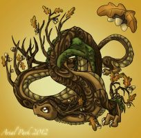 November Dragon: Oak Tree by jeweledphoenix