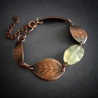 leaf bracelet with yellow jade by szaranagayama