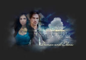 elena and damon by claudiaV3