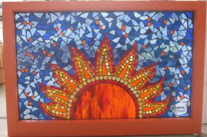Glass Mosaic Sun Window by reflectionsshattered