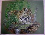 Leopard lounging on a log ...WIP by Artsy50