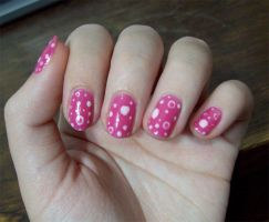 NA: Spotted pink nails by BeepBeep22