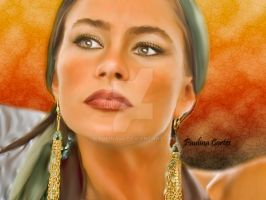 Sofia Vergara Smudge Painting by Paulina44