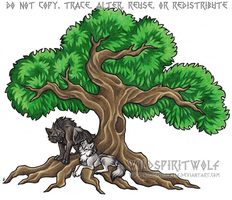Alpha Wolf Pair Beneath Tree Of Life - Commission by WildSpiritWolf