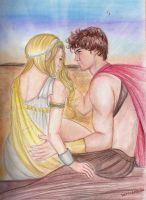 Phaedra and Ares on the beach by Allie06