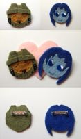 Master Chief and Cortana Pins by MotherMcKarther