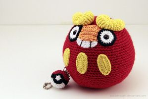 Amigurumi Darumaka with Pokeball Keychain by pocket-sushi