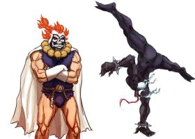 taskmaster akuma and symbiote chun-li by kill-stereo