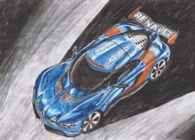 New Renault Alpine painting by M-J-M-A