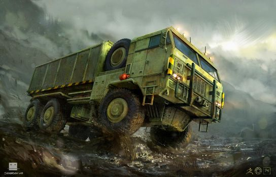 Container truck - Zbrush by Sickbrush