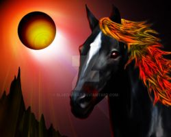 Black Beauty Fire Horse Portrait by Bluedarkat
