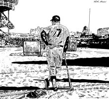Mickey Mantle (Ink) by KeithMeyerArt
