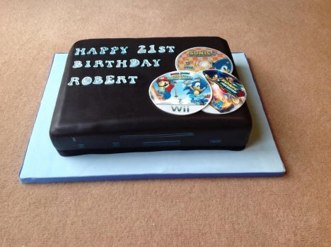 My Wii U Cake (front) by 4ATOMIC4