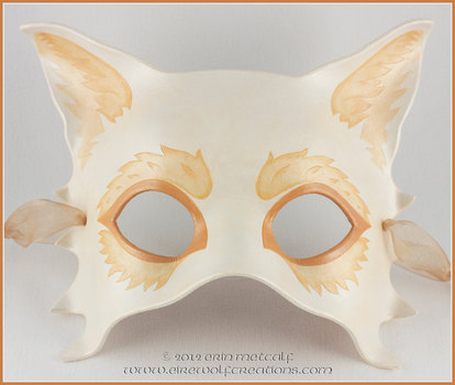 Wedding Mask, Golden Wolf (Half Mask) by EirewolfCreations