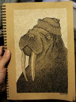 Walrus Jacques (ink) by Hands-hooks