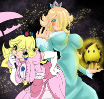 Peach and Rosalina by KingBoo22